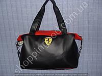 Женская сумка Ferrari 013570 черная с красным спортивная из искусственной кожи
