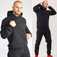 Мужской спортивный костюм трехнитка на флисе, стильный молодежный спортивный костюм, черный (ТОП качество)