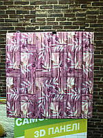3D панель самоклеющая Обои под декоративный бамбук Самоклейка 3Д бамбуковые панели для стен розовые