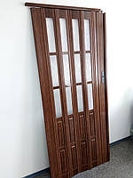 Двері гармошка полуостекленные 860х2030х12мм дуб 7036