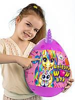Детский большой набор креативного творчества для девочки яйцо сюрприз Единорог Wow box фиолетовый 35 см