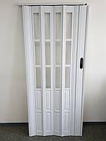 Двері гармошка розсувна підлозі засклена 1-білий ясен ,860х2030х12мм, фото 2