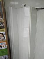 Двері гармошка розсувна підлозі засклена 1-білий ясен ,860х2030х12мм, фото 3