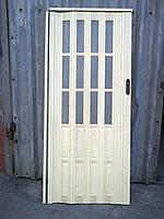 Двері гармошка підлозі засклена сосна 7012, 860х2030х12мм