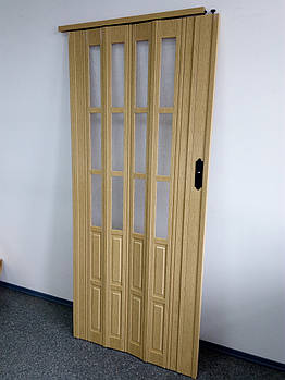 Двері гармошкою полуостекленные 1020х2030х12мм дуб 269