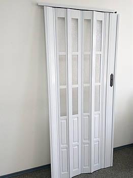 Двери гармошкой полуостекленные 1020х2030х12мм  белый ясень 610