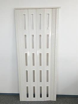 Двері засклені 860х2030х6мм вільха біла 7202 гармошка розсувна