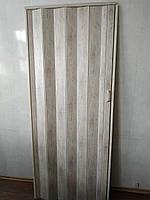Дверь гармошка глухая дуб беленый 907 81*203*0,6 см раздвижная, фото 3