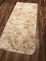 Меховый ворсистый коврик Травка 200х100/прикроватный коврик с длинным ворсом бежевий