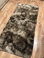 Меховый ворсистый коврик Травка 200х100/прикроватный коврик с длинным ворсом коричневый