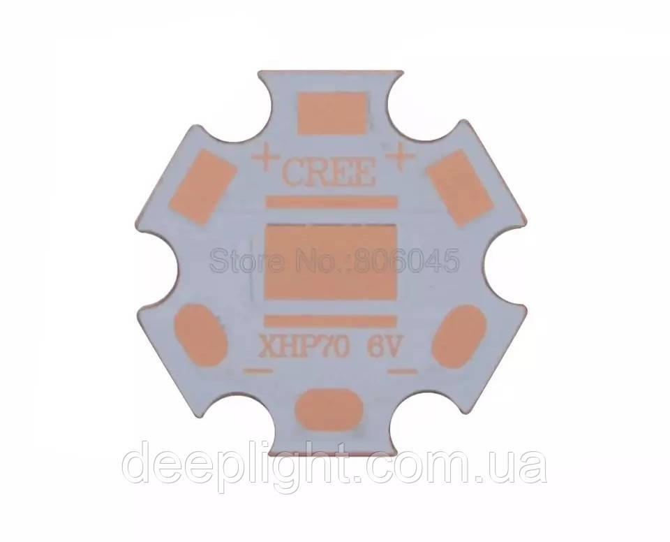 Підкладка 20мм мідна copper 1.5 мм для світлодіодів XHP70/70.2 7*7мм 6V