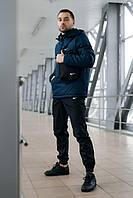 Спортивный костюм Nike Анорак теплый + Штаны + подарок Барсетка Синий/черный (Размер S)