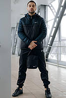 Спортивный костюм Nike Анорак теплый + Штаны + подарок Барсетка Черный/синий (Размер S)