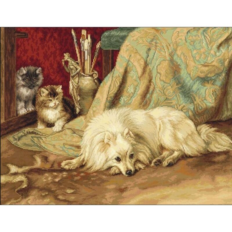 Набір для вишивання нитками Luca-S Тварини Птахи Собака і коти