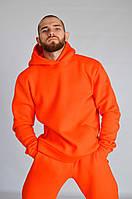 Мужской спортивный костюм трехнитка на флисе, стильный молодежный спортивный костюм, Оранжевый (ТОП качество)