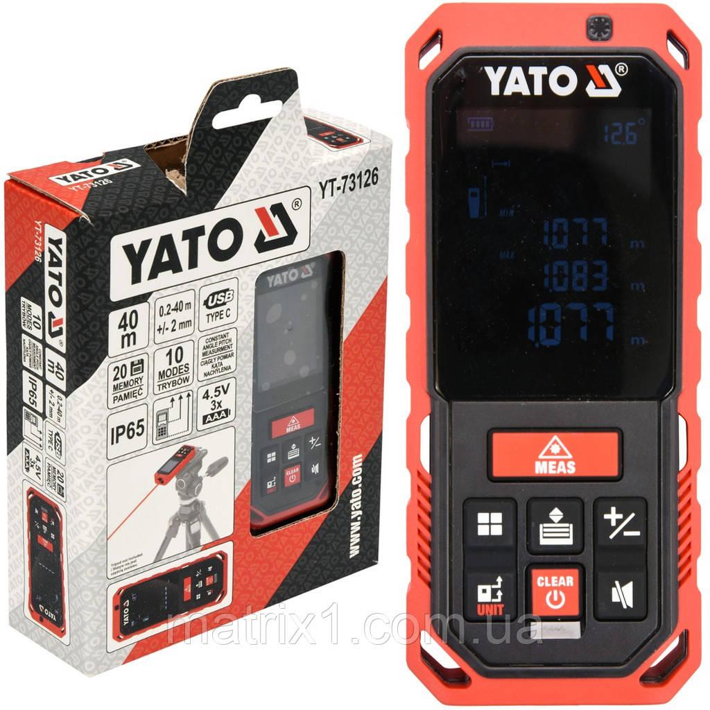Дальномер лазерный YATO 0.2-40 м 10 режимов (Польша)