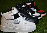 Кроссовки детские высокие хайтопы Nike white black найк белые черный р31-36, копия, фото 2