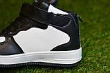 Кроссовки детские высокие хайтопы Nike white black найк белые черный р31-36, копия, фото 3