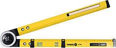 Угломер регулируемый алюминиевый VOREL 630 мм угол 0-270° 0-500 мм + карандаш 18790
