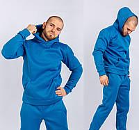 Мужской спортивный костюм трехнитка на флисе, стильный молодежный спортивный костюм, Голубой (ТОП качество)