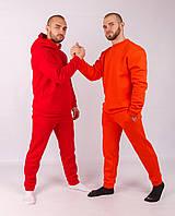 Мужской спортивный костюм трехнитка на флисе, стильный молодежный спортивный костюм, Красный (ТОП качество)