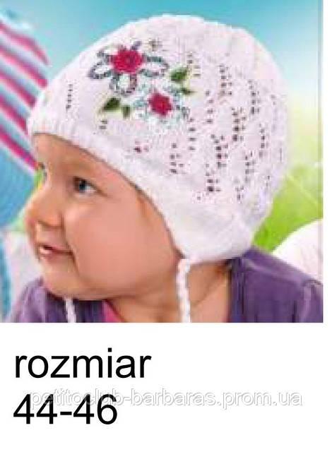 Шапка для девочки ажурная с цветком (Польша)