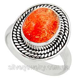 Серебряное кольцо с СОЛНЕЧНЫМ КАМНЕМ (натуральный), серебро 925 пр. Размер 17,5