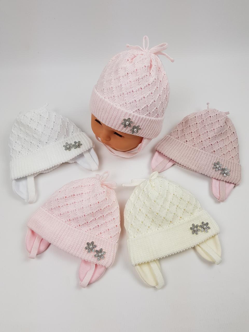 Дитячі польські демісезонні вязані шапки на трикотажній підкладці для новонароджених, р. 38-40 (Grans)