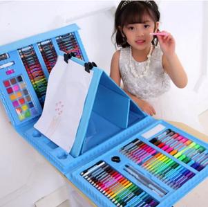 Набір для дитячої творчості у валізі з 208 пр Блакитний | Набір для малювання Валізку юного художника