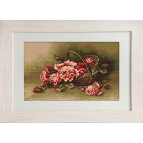 Набор для вышивания нитками Luca-S Цветы Корзина с розами