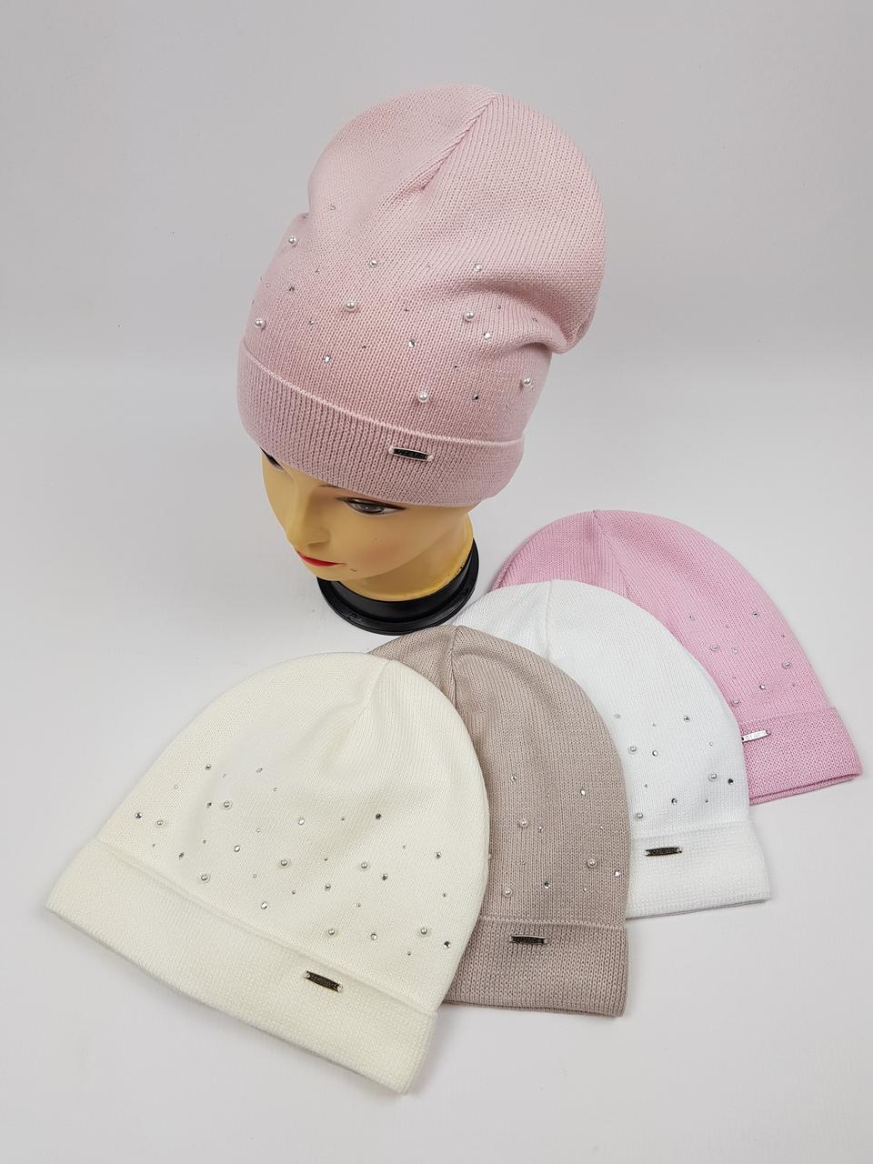 Підліткові польські демісезонні вязані шапки на трикотажній підкладці для дівчат оптом, р.52-54 (Grans)