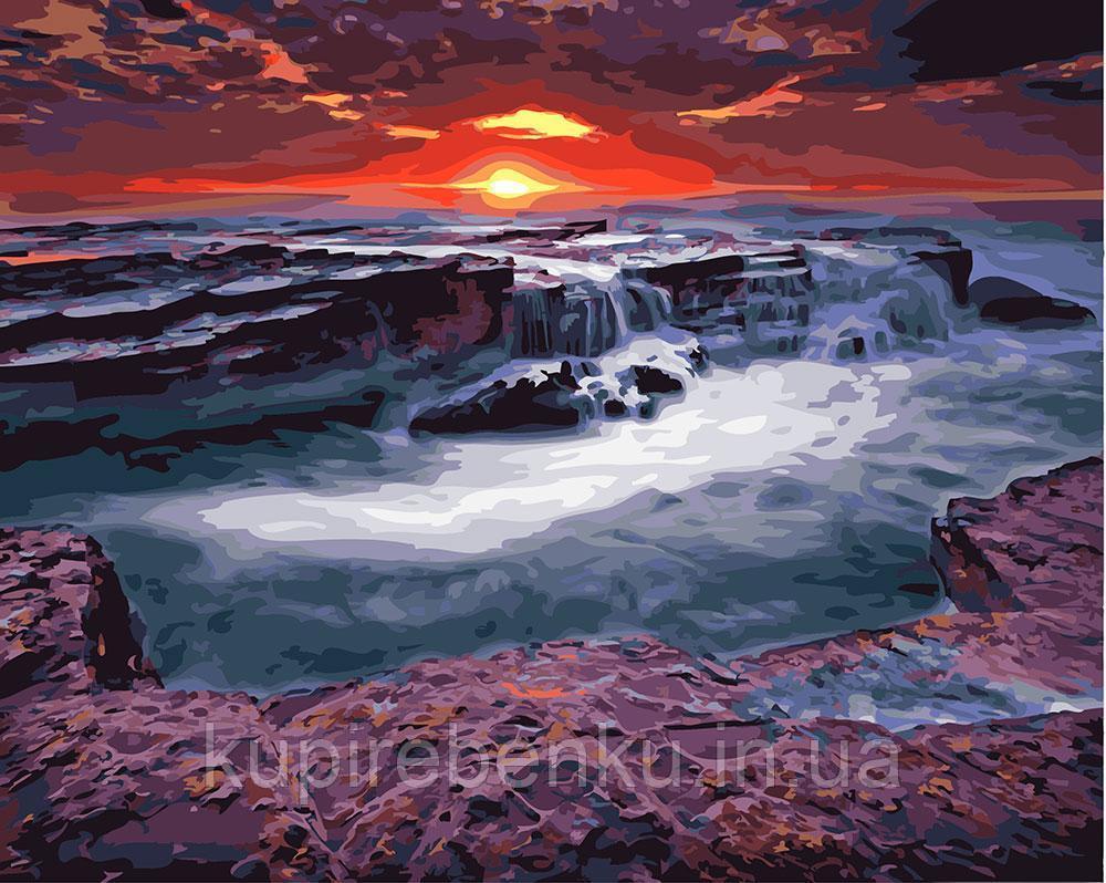 Захід сонця біля водоспаду (GX23748). Картини за номерами 40×50 див.