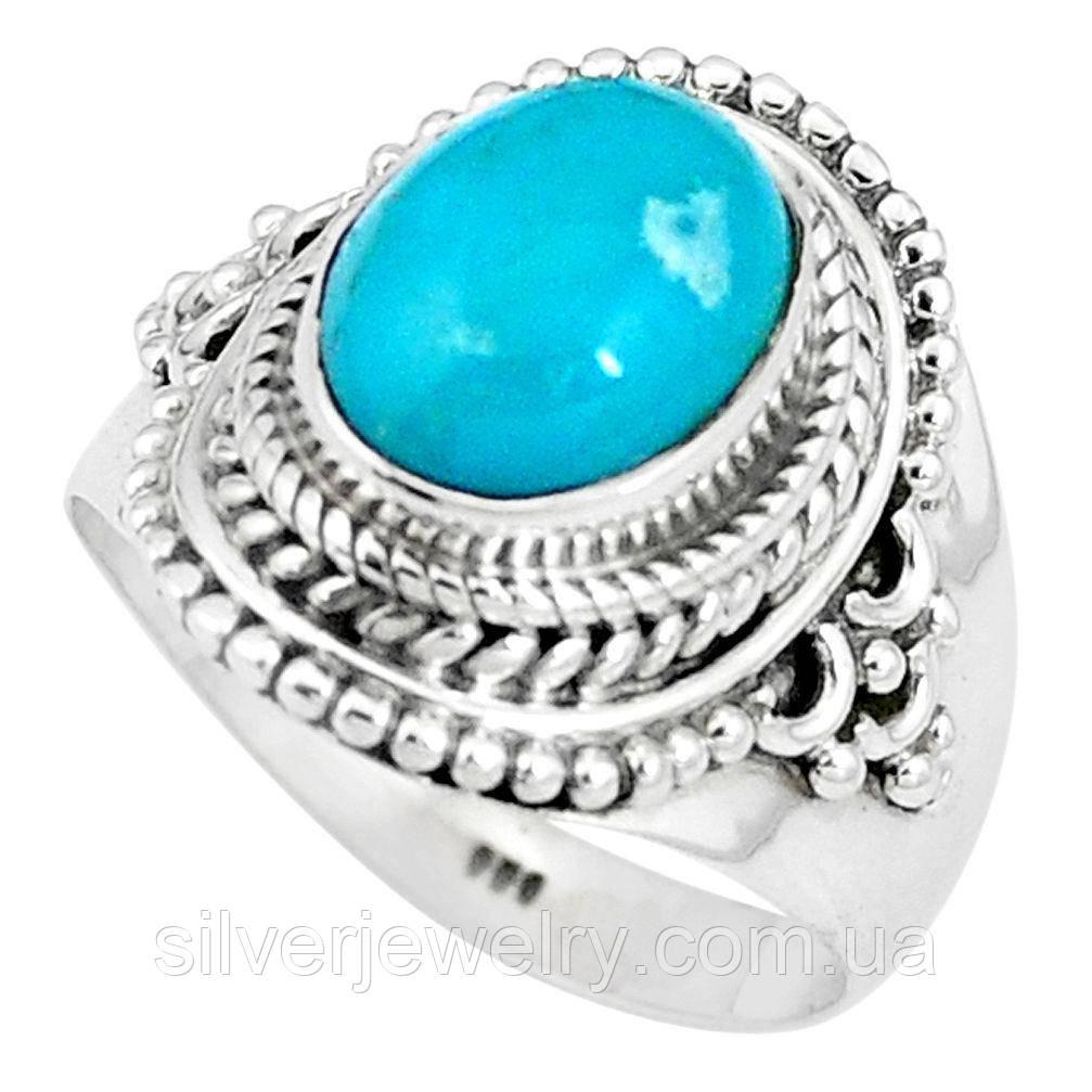 Серебряное кольцо с БИРЮЗОЙ (натуральная), серебро 925 пр. Размер 17,25