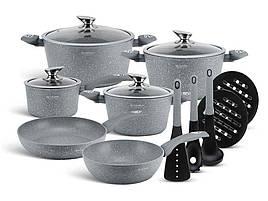 Набір посуду Edenberg з мармуровим антипригарним покриттям 15 предметів (EB-5620)