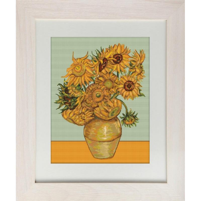 Набор для вышивания нитками Luca-S Цветы Подсолнухи