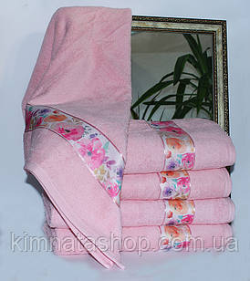 ТМ TAG Рушник махровий Весна рожеве квіти 70х140