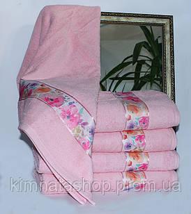 ТМ TAG Полотенце махровое Весна розовое цветы 50х90
