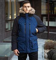 Зимняя мужская парка на флисе, теплая куртка с мехом, черно-синяя