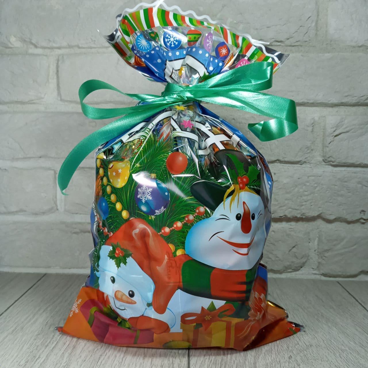 Новогодняя подарочная упаковка для конфет 25см 40см снеговики (100 шт)
