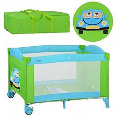 Манеж-Кровать на колесах BAMBI, зелено-голубой М2237