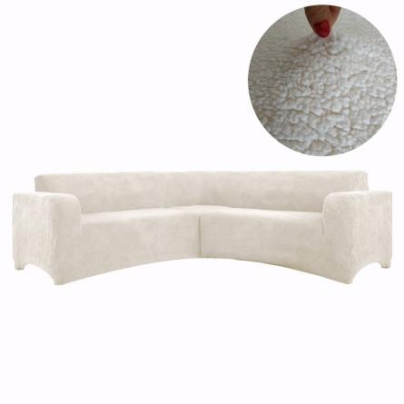 Чохол на кутовий диван плюшевий, хутряний, без оборки внизу, натяжні Venera Колір Молочний