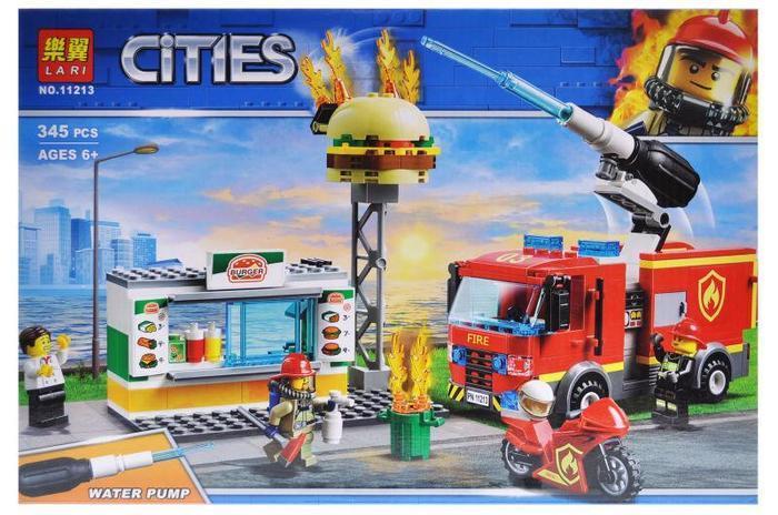 """Конструктор місто Сіті 11213 """"Пожежа в бургер-кафе"""" 345 деталей."""