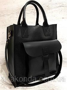 161-4р Натуральная кожа Формат А4+ Женская сумка черная на плечо кожаная натуральная Размер А-4 сумка