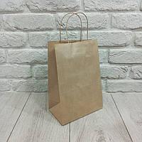 Пакет бумажный с ручками коричневый 28см 19см 11,5см 25шт №6