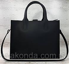 71-1 Натуральная кожа Сумка женская черная кожаная сумка женская сумка черная ультраматовая, красная подкладка, фото 3