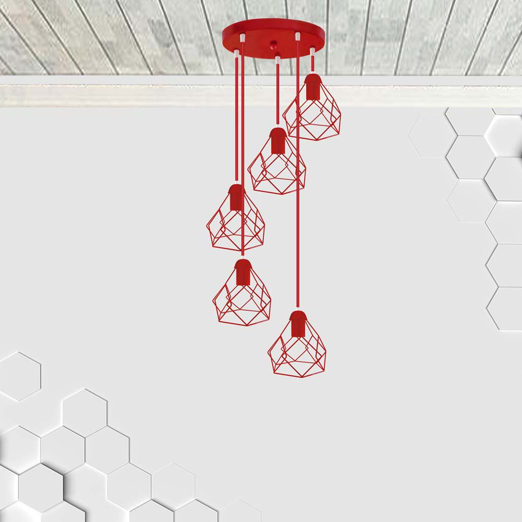 Подвесная люстра на 5-ламп RUBY-5G E27 на круглой основе, красный