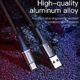Кабель Baseus со светодиодной подсветкой MICRO USB 3A Цвет Чёрный 1 метр Быстрая зарядка, фото 5