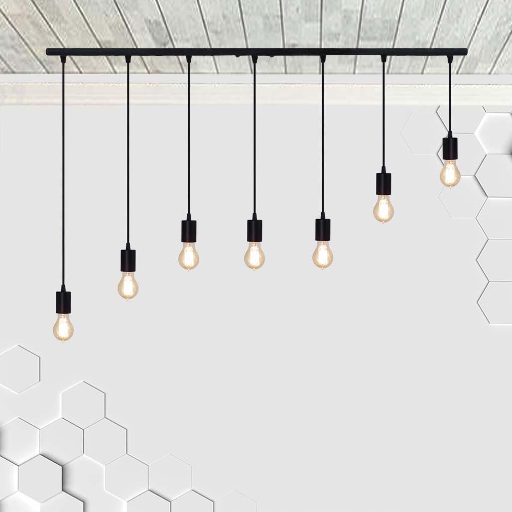 Подвесной светильник на 7-ламп CEILING-7 E27 чёрный