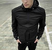 Стильная Мужская Куртка Ветровка с капюшоном из плащевки, Черная качественная