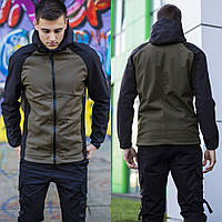 Демисезонная мужская Куртка с капюшоном, Soft Shell, качественная куртка Осень Весна, Черная с Хаки